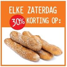 30% discount on bread every Satruday at Marqt Amsterdam