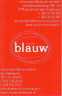 restaurant blauw amsterdam - business card